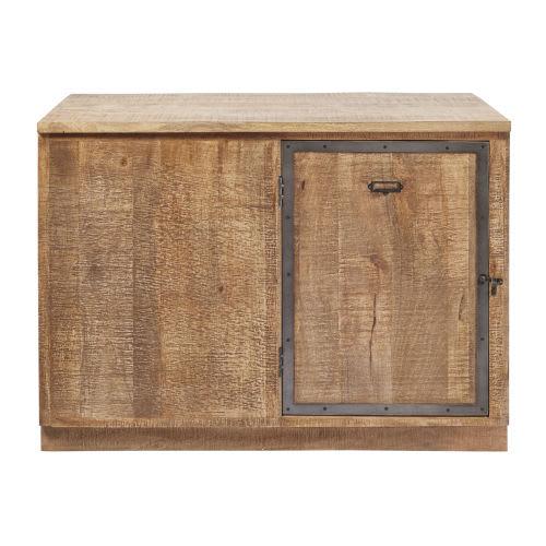 Mobile basso ad angolo da cucina a 1 anta in legno massello di mango
