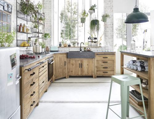 Mobile basso ad angolo da cucina in pino riciclato 97 cm
