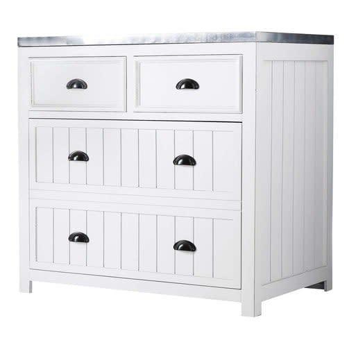 Mobile basso bianco da cucina in legno 90 cm