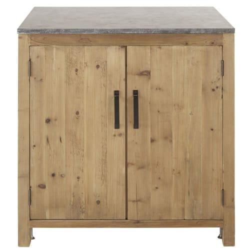 Mobile basso da cucina 2 ante in legno di pino riciclato effetto anticato
