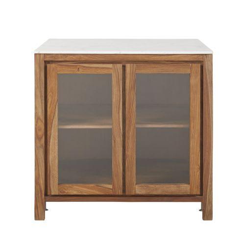 Mobile basso da cucina a vetri in legno massello di sheesham e marmo
