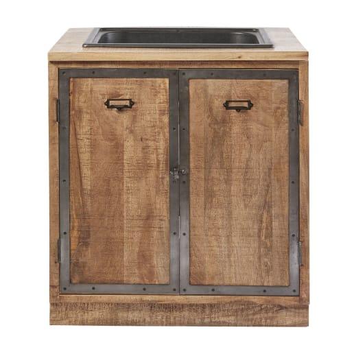 Mobile basso da cucina con lavello a 2 ante in legno massello di mango