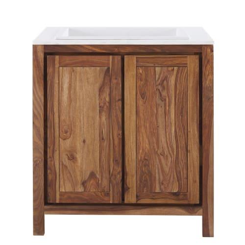 Mobile basso da cucina con lavello in legno massello di sheesham e marmo
