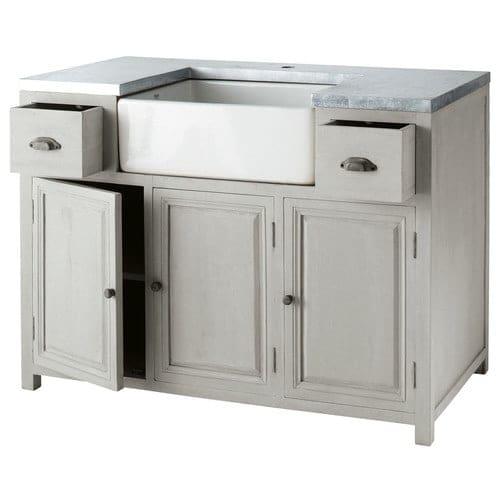 Mobile basso da cucina grigio in acacia con lavello L 120 cm