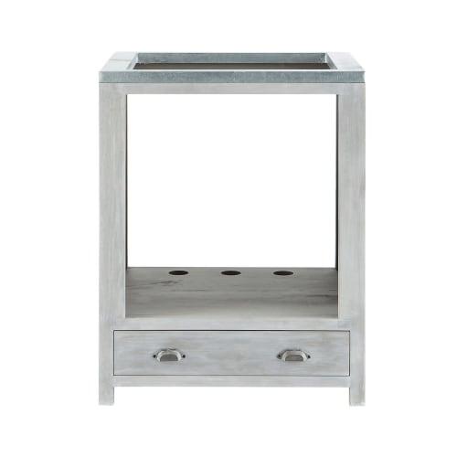 Mobile basso da cucina grigio in acacia per forno l 70 cm for Cerco mobile sala