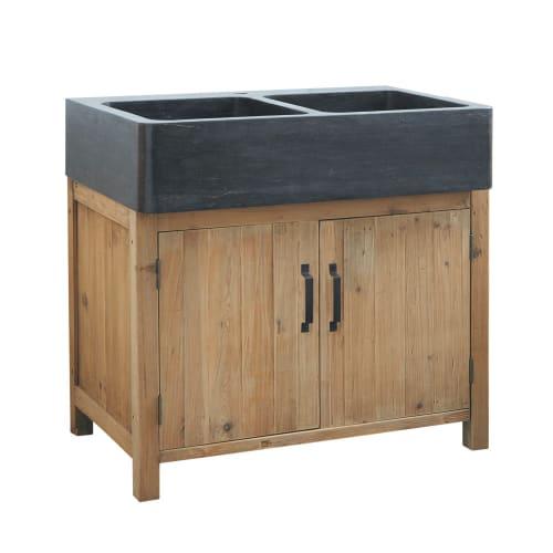 Mobile basso da cucina in pino riciclato con lavello 90 cm   Maisons du  Monde