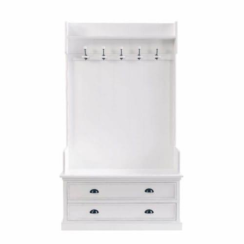 Mobile bianco da ingresso con 5 attaccapanni L 110 cm | Maisons du Monde