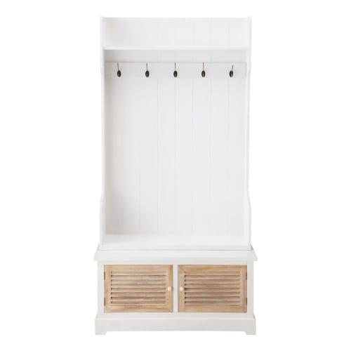 Attaccapanni Da Ingresso.Mobile Bianco Da Ingresso In Legno Con 5 Attaccapanni L 96 Cm Maisons Du Monde