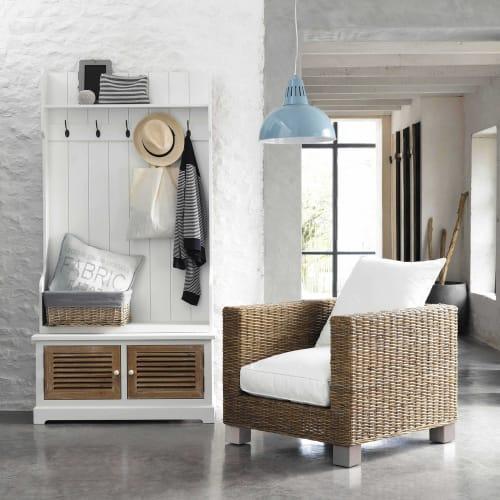 Mobile bianco da ingresso in legno con 5 attaccapanni L 96 cm