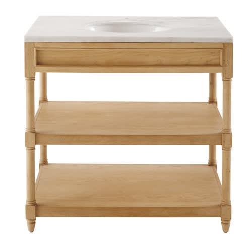 Mobile con lavandino in legno massello di quercia e marmo bianco