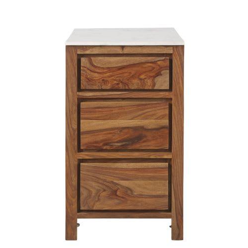 Mobile da cucina con 3 cassetti in legno massello di sheesham e marmo, 50 cm