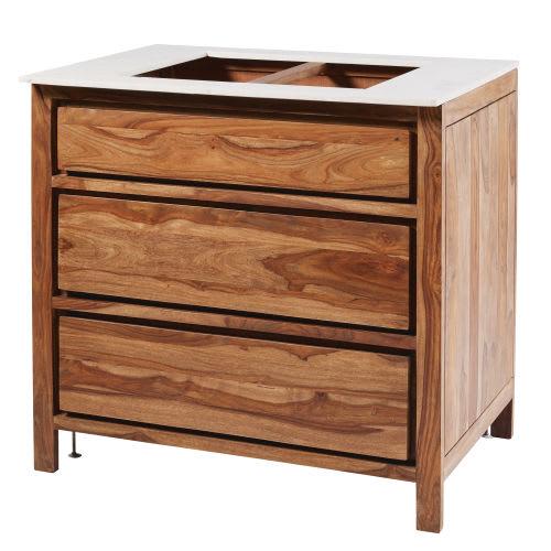 Mobile da cucina con 3 cassetti in legno massello di sheesham e marmo
