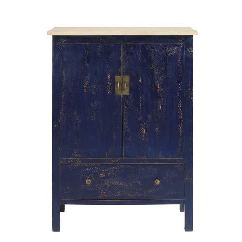 Mobiletto a 2 ante e 1 cassetto in legno massello di mango blu
