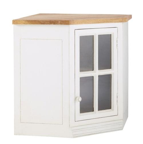 Mueble alto de cocina esquinero acristalado de madera de mango color marfil  An. 92 cm | Maisons du Monde