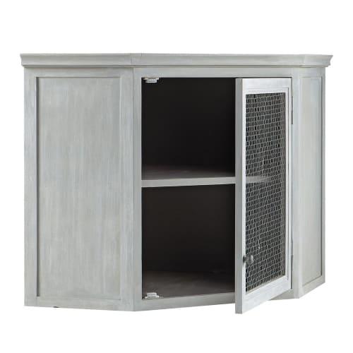 Mueble Lavabo Esquinero.Mueble Alto De Cocina Esquinero De Hevea Gris L 76 Cm