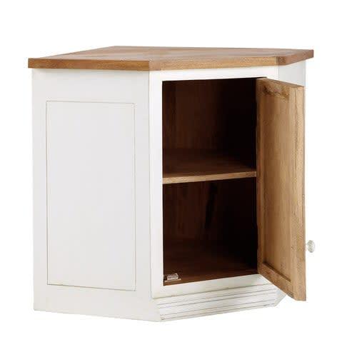 Mueble alto de cocina esquinero de madera de mango color marfil An. 92 cm