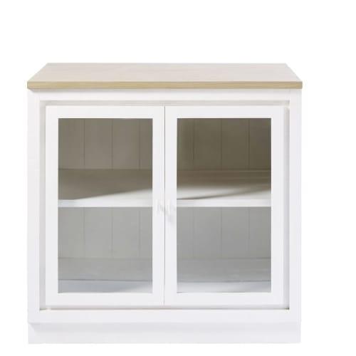 Mueble bajo de cocina blanco con 2 puertas y acristalado