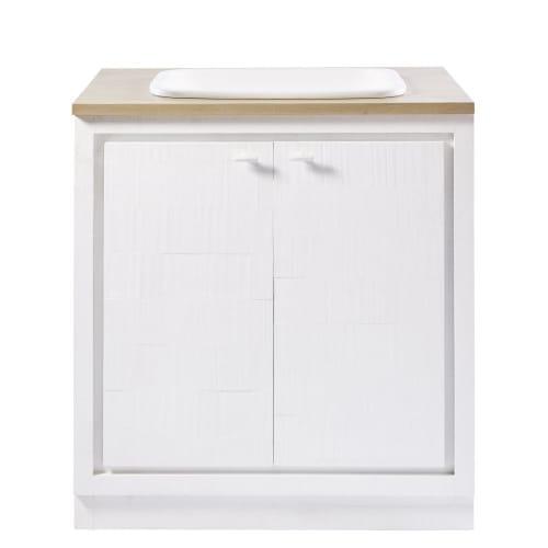 Mueble bajo de cocina blanco con fregadero con 2 puertas