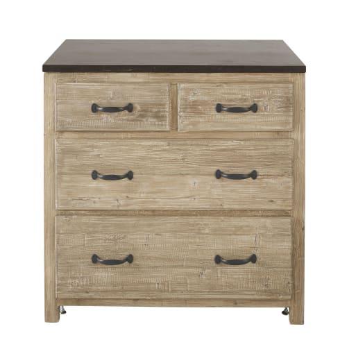 Mueble bajo de cocina con 4 cajones de pino reciclado