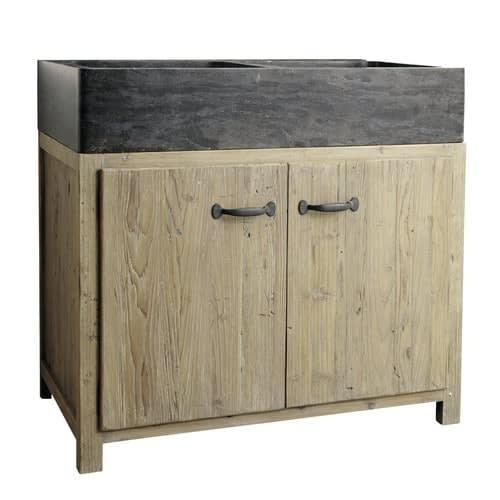 Mueble bajo de cocina de pino reciclado con fregadero