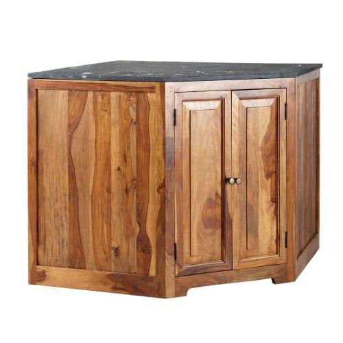 Mueble bajo de cocina esquinero de madera maciza de palo rosa An. 146 cm