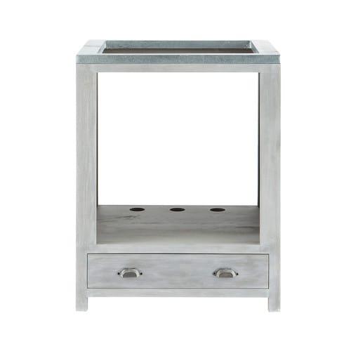 Mueble bajo de cocina para horno de hevea gris L 70 cm