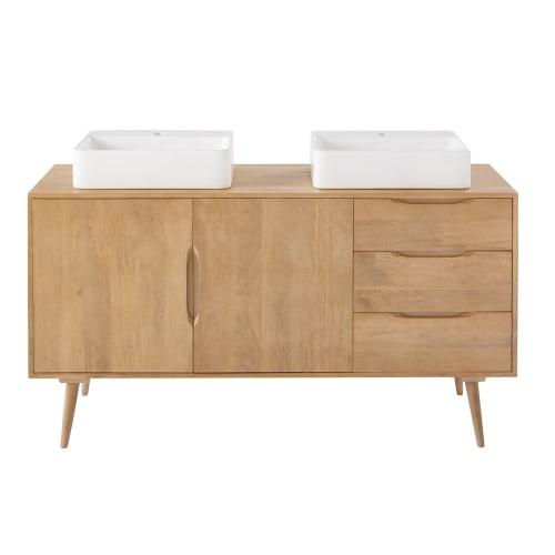 Mueble de cuarto de baño de mango macizo con 2 lavabos | Maisons du Monde