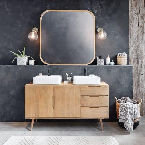 Mueble de cuarto de baño de mango macizo con 2 lavabos