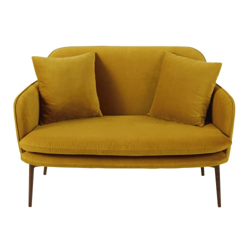 Mustard Yellow 2 Seater Velvet Sofa Bench Sacha Maisons