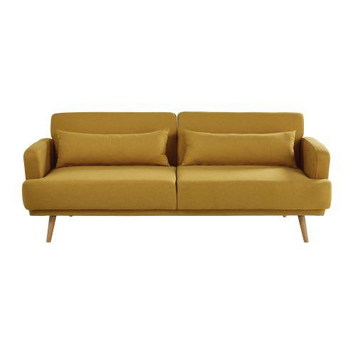 Mustard Yellow 3 Seater Sofa Bed