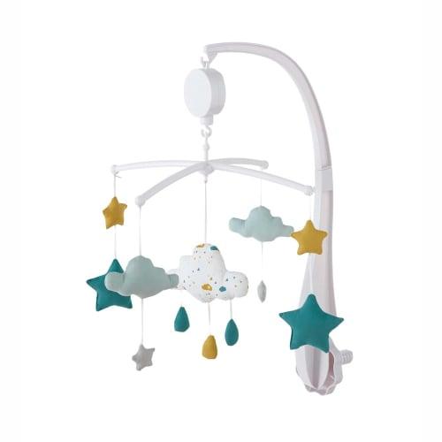 Muziekmobiel van wit, blauw en mosterdgeel katoen voor baby's
