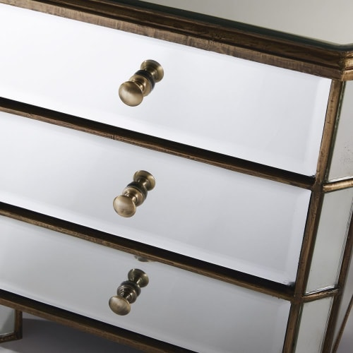 Nachttisch Mit 3 Schubladen Aus Metall Und Spiegelglas Athenee Maisons Du Monde