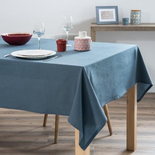 Nappe en coton lavé bleu 8x8  Maisons du Monde