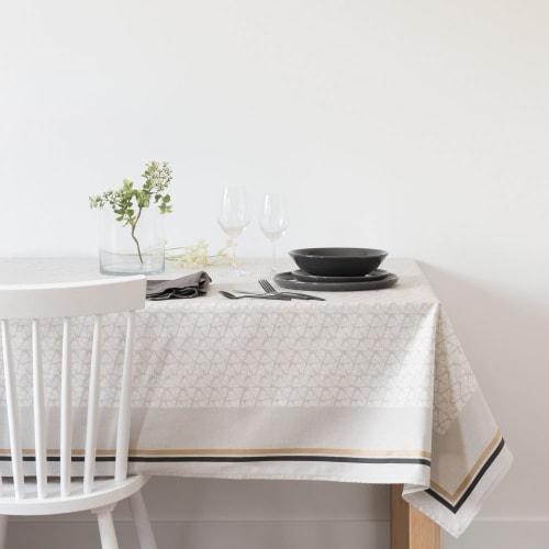 Nappe enduite à motifs beiges et gris anthracite 8x8  Maisons du Monde
