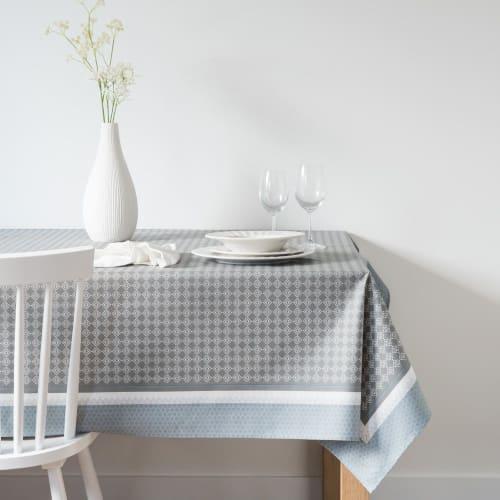Nappe Enduite A Motifs Bleus Blancs Et Gris 140x250 Maisons Du Monde