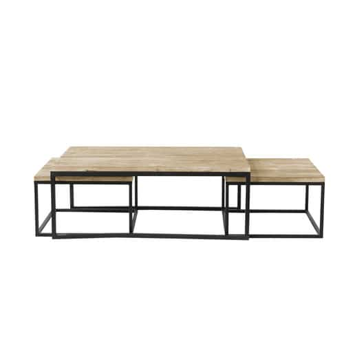 Nest of 3 Solid Fir and Metal Industrial Coffee Tables