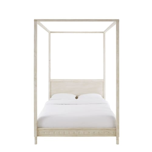 Off White Pine Four Poster Bed 140x190 Maisons Du Monde