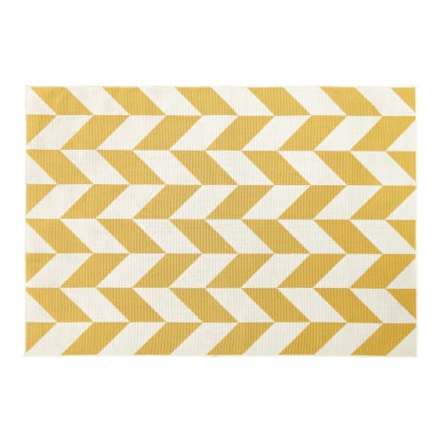 Outdoor Rug With Yellow And White Graphic Print 160x230 Maisons Du Monde