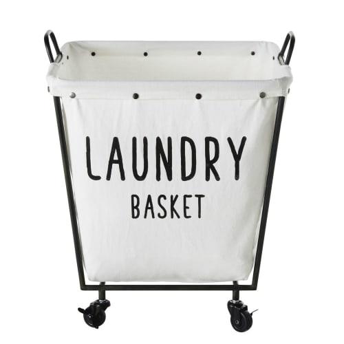 Panier A Linge A Roulettes En Metal Noir Et Coton Blanc Laundry Maisons Du Monde