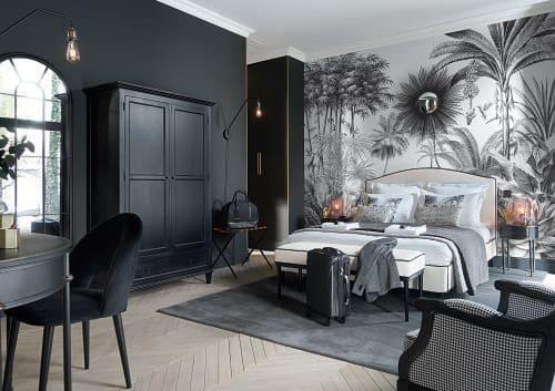 Papier peint imprimé jungle noir et blanc 300x350 | Maisons du Monde