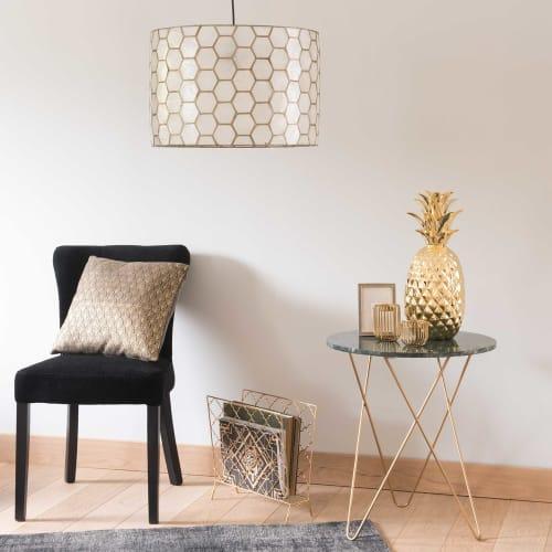 Paralume per lampada a sospensione in pezzi di madreperla e metallo dorato   Maisons du Monde