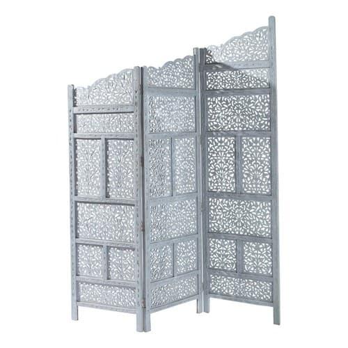 Paravento grigio in legno L 152 cm