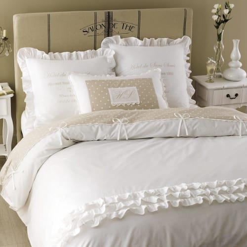 Lenzuola Matrimoniali Maison Du Monde.Parure Da Letto 240 X 260 Cm Bianca In Cotone Sans Souci Maisons