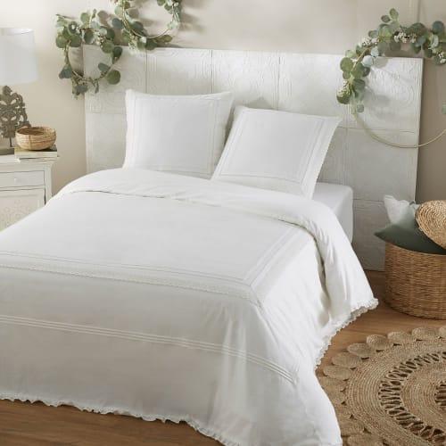Copripiumino Matrimoniale 240x260.Parure Da Letto In Percalle Di Cotone Bianco Ricamato E Uncinetto