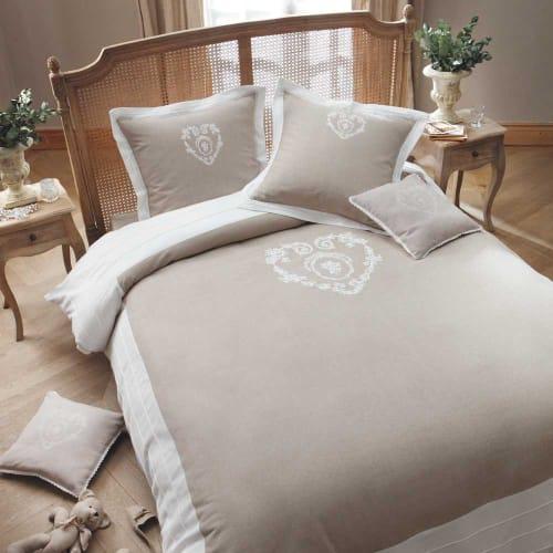Parure de lit 220 x 240 cm en coton beige
