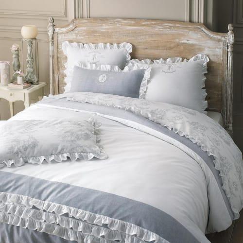 Parure de lit 10 x 10 cm en coton blanche  Maisons du Monde