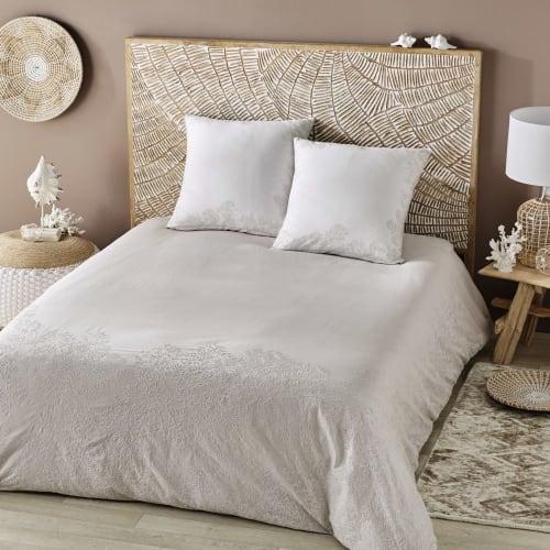 Parure de lit en coton beige motifs brodés blancs 8x8  Maisons du Monde