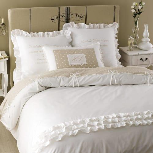 Parure de lit en coton blanche 8x8  Maisons du Monde