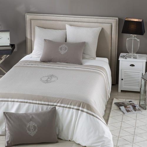 Parure de lit en coton motifs rayures 240