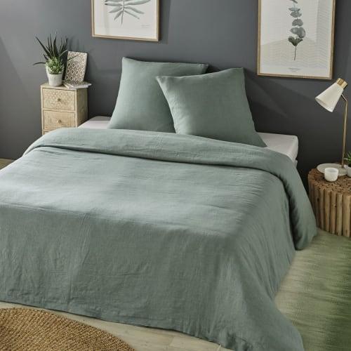 Parure de lit en lin lavé vert jade 10x10  Maisons du Monde